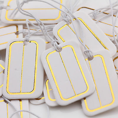 New 100pcs White Gold Paper Jewelry Label Price Tags With Elastic String 25x15mm