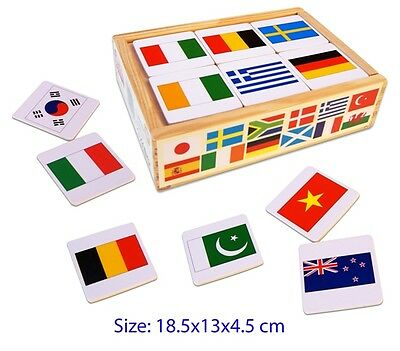 Fun Factory 48 Pcs Wooden MEMORY MATCHING GAME WORLD FLAG Educational Toy