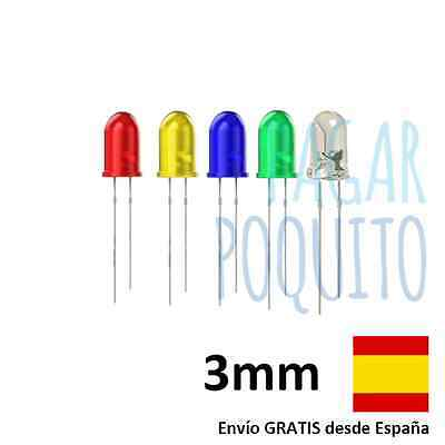 Pack 5 led diodo 3mm amarillo verde azul rojo Arduino Raspberry electronica DIY