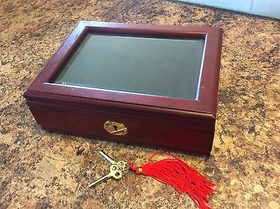 Glass Top Wood Display Box with Keys for 2 Certified Coin Slabs from PCGS or NGC