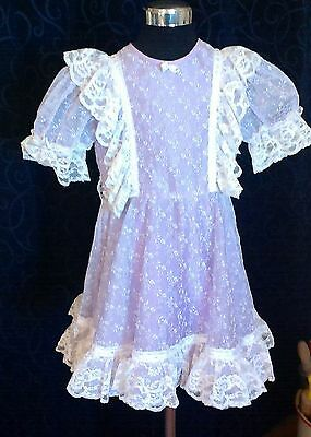 Vintage girls dress sz 4 flocked organdy cotton lace NEWTOWN BABY SHOP TOOWOOMBA