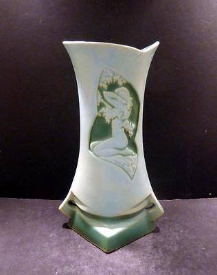 """Roseville Silhouette Nude Turquoise  Vase, 787-10"""" - MINT"""