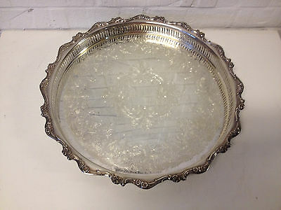Webster Wilcox International Silver Plated American Rose Pattern Round Tray