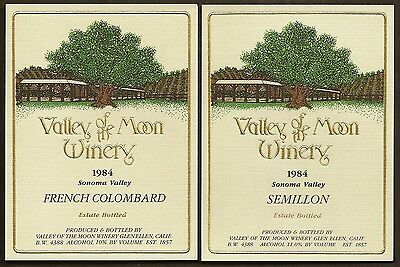 Two VALLEY OF THE MOON 1984 Wine Labels Semillon French Colombard Sonoma Valley