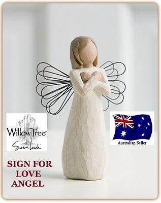 SIGN FOR LOVE ANGEL Demdaco Willow Tree Figurine By Susan Lordi BRAND NEW IN BOX