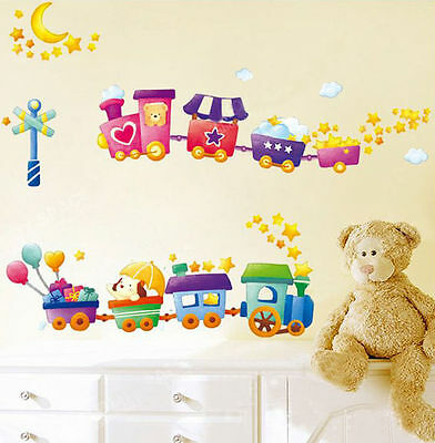 Wall Stickers cute train nursery room kids baby decor decals mural Removable