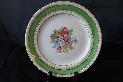 Steubenville Plate w/ Center Floral Design w/ Green, Yellow Rim w/ Gold Gilding