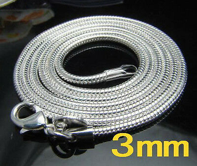 "1PCS 925925Sterling Silver Solid Silver Snake Chain Necklace 3MM 16""-30"" N192"