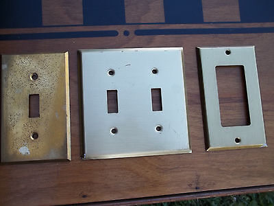 Three Solid Brass Switch Plates, 1 Double, 1 Single, 1 Open Face, Free S/H