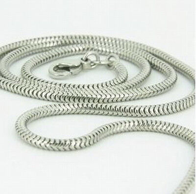 """1PCS 925Sterling Silver Solid Silver Vivid Snake Chain Necklace 2MM 16""""-24"""""""
