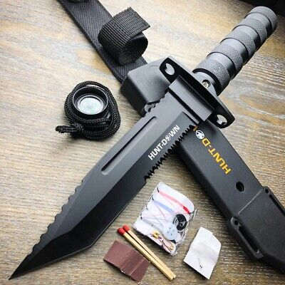 """8.5/"""" TACTICAL BOWIE SURVIVAL HEAVY DUTY STAINLESS STEEL WITH KIT HK256-85BK"""