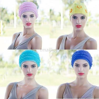 Women Durable Stretch Swim Caps Polyester Swimming Swim Lace Cap Bathing Hat T96