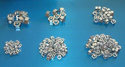 BSF Plain Nuts 200 Pack. High Tensile Steel, Bright Zinc Plated