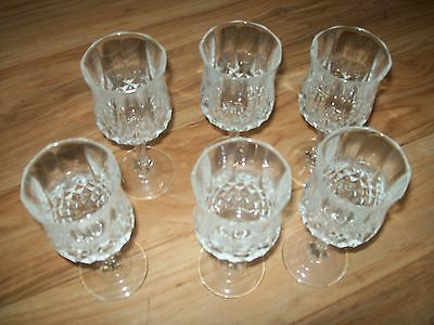 Lot Of 6  GORGEOUS Clear Diamond Point J.G. Durand Cristal d'Arques WINE GOBLETS
