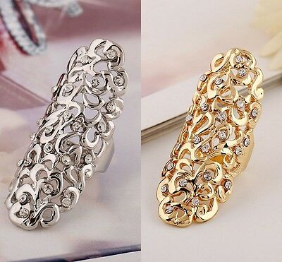 Women Fashion Jewelry Rhinestone Full Finger Armor Joint Knuckle Hollow Out Ring