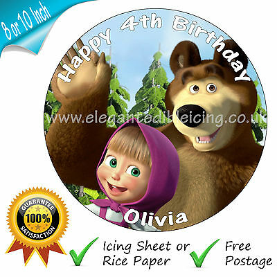 Masha And Bear Cake Topper Round Personalised Edible Birthday Cake Decoration
