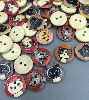 FREE 50-100PCs Crafts Mixed Natural Cartoon Cats 2 Hole Button Buttons 15mm