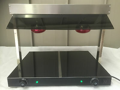 Plate Warmer Heated Ceramic Base Two Lamp Carvery Buffet Display, 2 Bulb 740mm