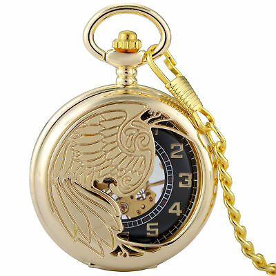 Antique Gold Phoenix Skeleton Steampunk Mechanical Windup Pocket Watch Men Chain