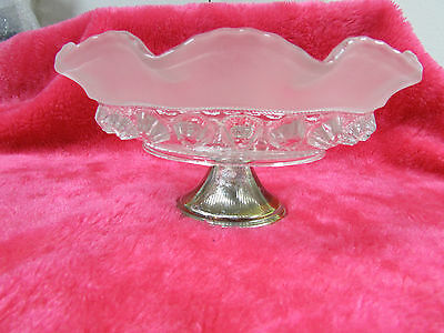 English Made Pressed Glass Compote, Silverplated Base, Frosted glass edge, Nice!