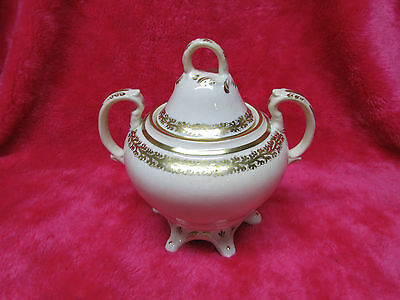 Gaudy Welsh.1870s Semi Porcelain Covered Sugar Bowl, Nice Gold Detail, Nice.