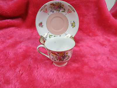 Occupied Japan Cup & Saucer Set, Nice Handpainted Floral Pattern, cute size .