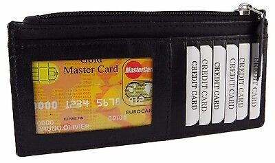 Women's Leather Slim Credit Card ID Wallet Zipper Coin Change Purse Black