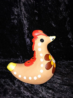 Russian Crafted Rooster Art Pottery Clay Figural Whistle