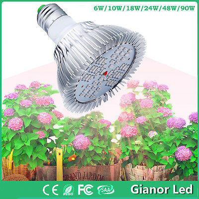 New E27 10/50/90W LED Grow Light Bulb Lamp for Plant Hydroponics Indoor Growing