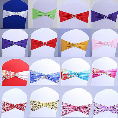 50 Spandex Heart Stretch Wedding Chair Cover Sashes Bow Band Party Banquet Decor