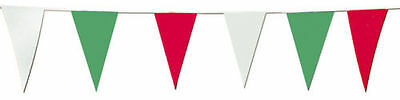 30 Metres Italy Italian Green White Red Fabric Triangle Flag Bunting