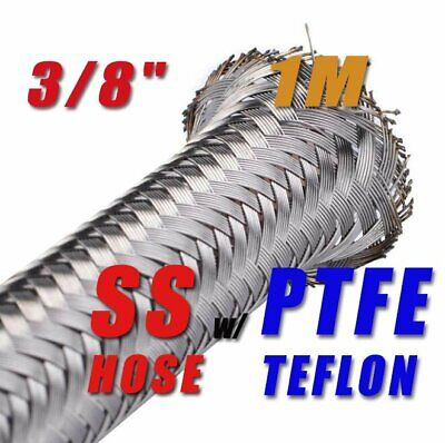 """3/8"""" 9.6Mm Stainless Steel Braided Ptfe E85 Ethanol Fuel Hose Oil Petrol 1 Meter"""