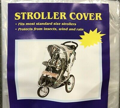 1x Universal Baby Pram Stroller Rain Disposble Cover Hail Clear Hook Loop Straps