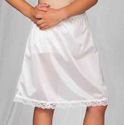Girls Half Slip Nylon Elastic Waist Lace Trim Knee Length Sizes 4-14 USA MADE