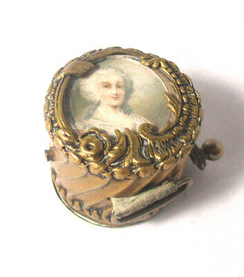 Brass PORTRAIT of VICTORIAN Woman Wind-Up  TAPE MEASURE; ANTIQUE ORIGINAL c1890