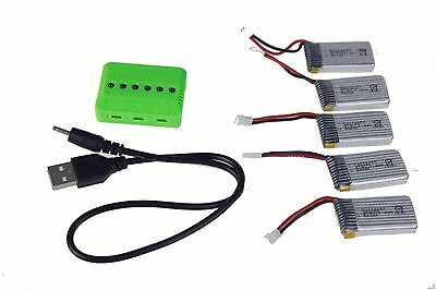 5 Pcs H107-A24 3.7V 380mah Battery with 1Pc 6 Port Charger F08529-A