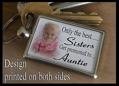 Metal keyring key fob, Personalised any photo, Birthday gift, Sister Auntie