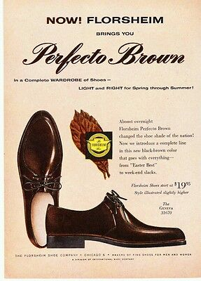 Vintage Florsheim Perfecto Brown Geneva mens leather shoe print ad