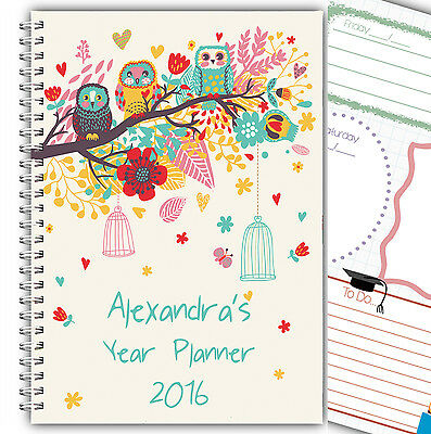2018 Personalised 3 Monthly Planner, Diary, Journal/ A5 Owl Cover 50 Inner Pages