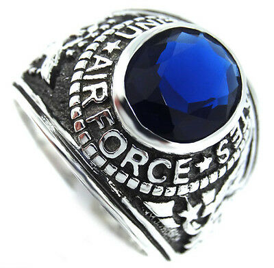 Montana Blue US Air Force Military .925 Sterling Silver Mens Ring Size 7