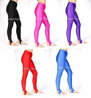 Girls Children Kids Stirrup  Leggings Dance Gymnastics Shiny Nylon Lycra