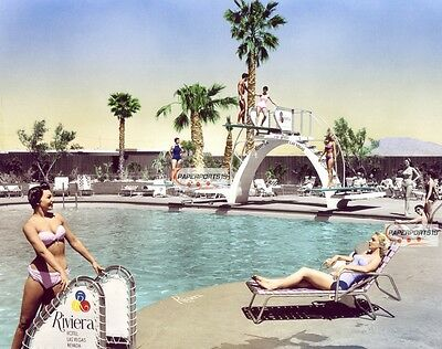 1955 RIVIERA Casino Vintage Las Vegas SWIMSUIT Girls POOL Hand Colored PHOTO