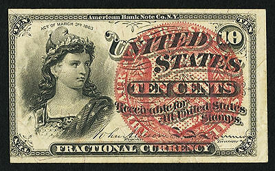 1863 10 Cent- FR.1257- Fractional US Currency Note 4th Issue- Extremely Fine.