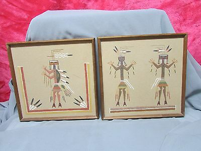 2  -Navajo Sand Painting / Paintings Signed By Navajo Artist FANNY CURTIS,