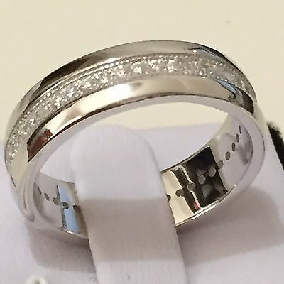 Simulated Diamond Men Eternity Wedding Ring in Real 925 Sterling Silver Size 11
