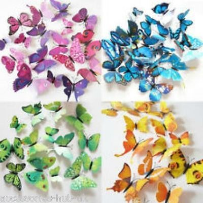 12 pcs 3D Butterfly Wall Stickers Art Decal Home Room Decorations Decor Kids