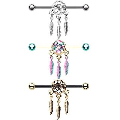 Dreamcatcher Industrial Barbell Cartilage Piercing CZ Silver Gold Movable Charm