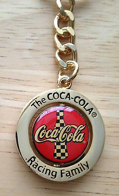 "New Coca Cola ""Spinning Nascar Logo"" Keychain, 4 1/2"" Tall"