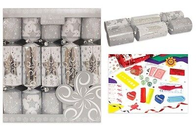 "Family Crackers (Pack of 10) 12""  Silver Star Christmas Crackers- XM2864"