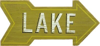 "Primitive Wood Arrow 24"" Green Sign~""LAKE""~Cabin/Cottage/Lodge/Rustic/Distressed"
